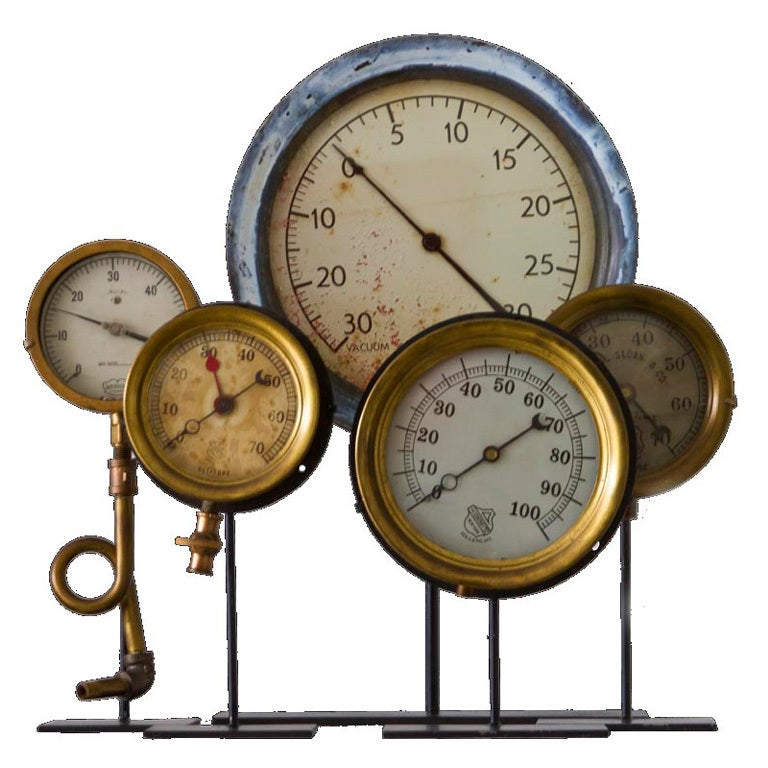 Collection of Five Early Industrial Pressure Gauges