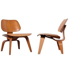 Pair of Early LCW Lounge Chairs by Charles Eames