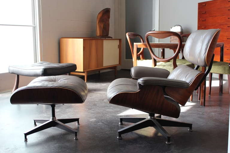 Eames Chair Leather original rosewood and grey leather eames lounge chair and ottoman