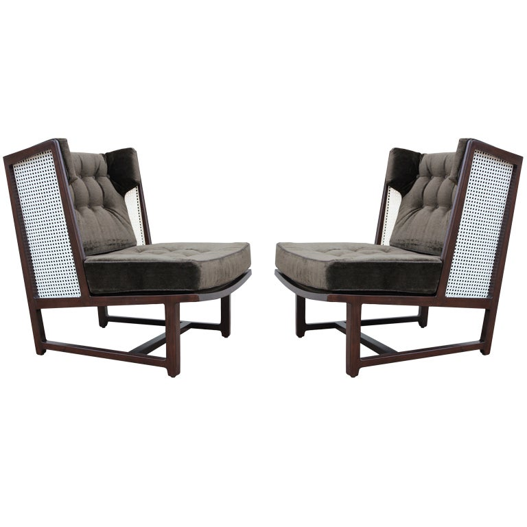 Rare pair of wing chairs by edward wormley for dunbar at 1stdibs - Edward wormley chairs ...