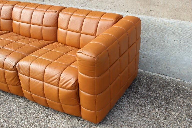 Leather Box Stitched Sofa At 1stdibs