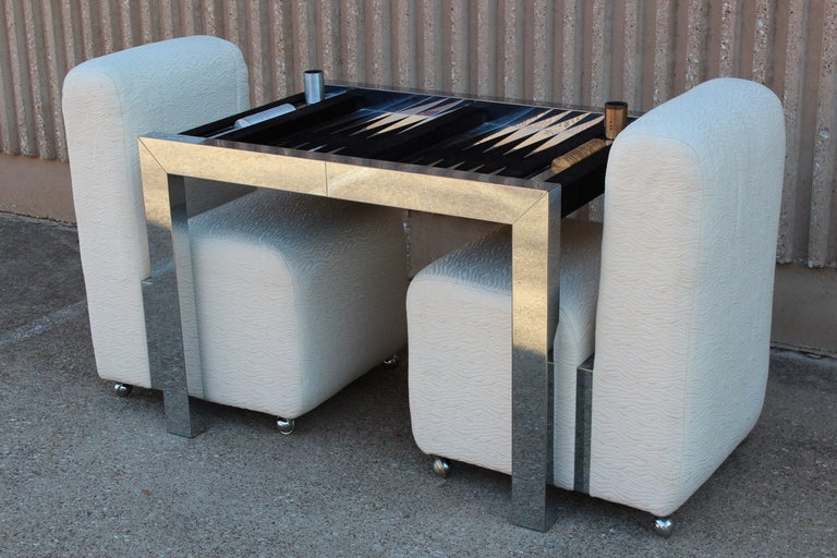 Backgammon Game Table And Chairs By Paul Evans At 1stdibs
