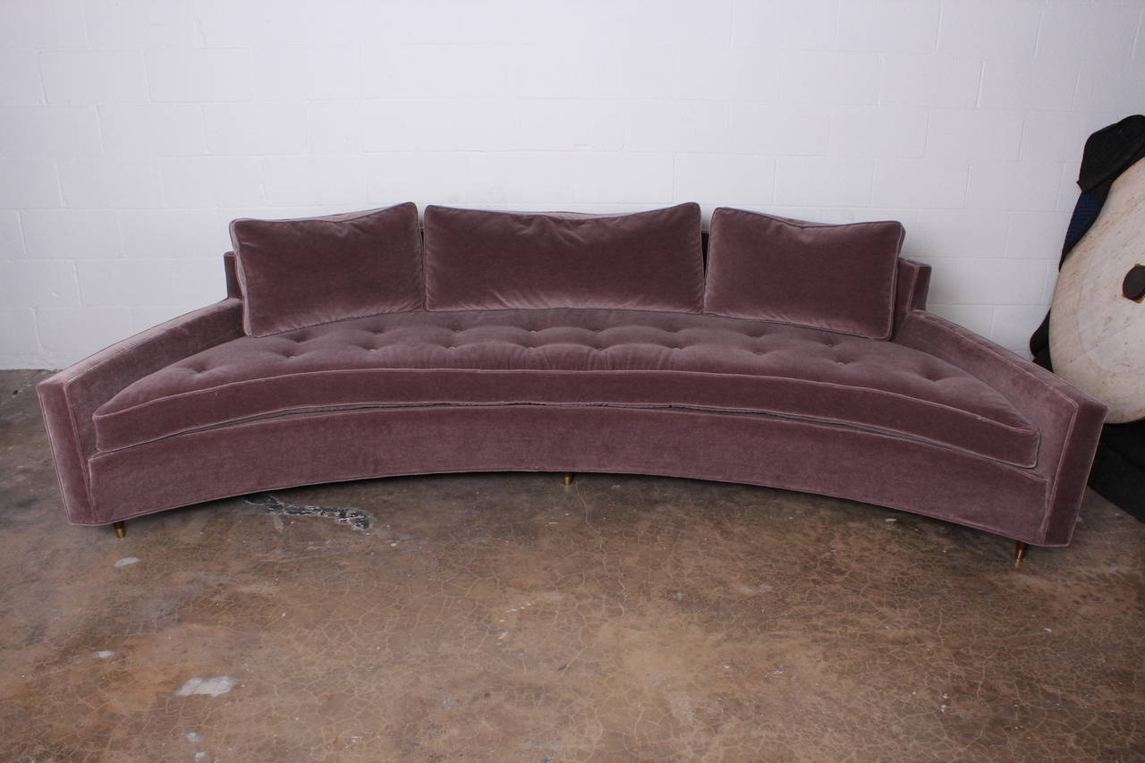 Curved Sofa By Harvey Probber In Mohair Excellent Condition For Dallas Tx