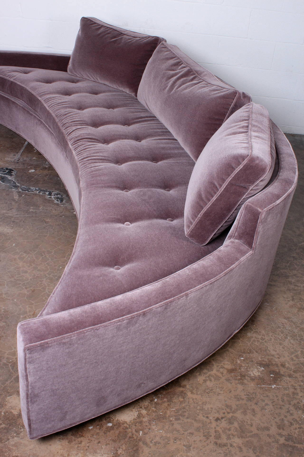 Curved Sofa By Harvey Probber In Mohair Pair Available