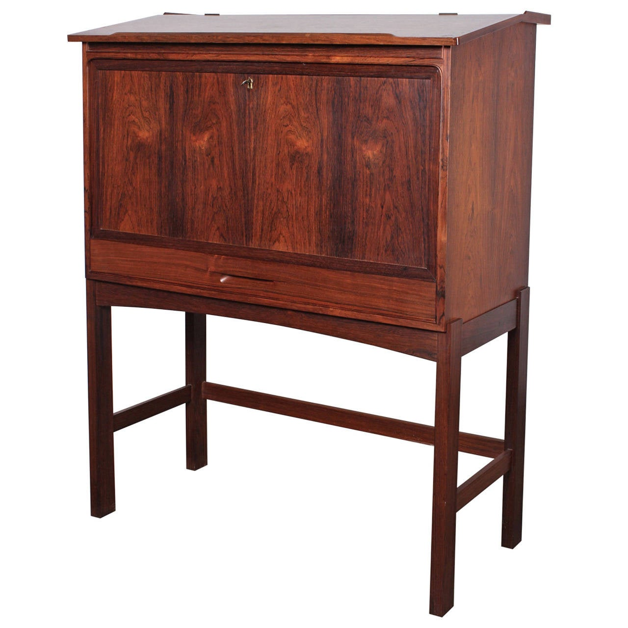 Rosewood drop front desk at stdibs