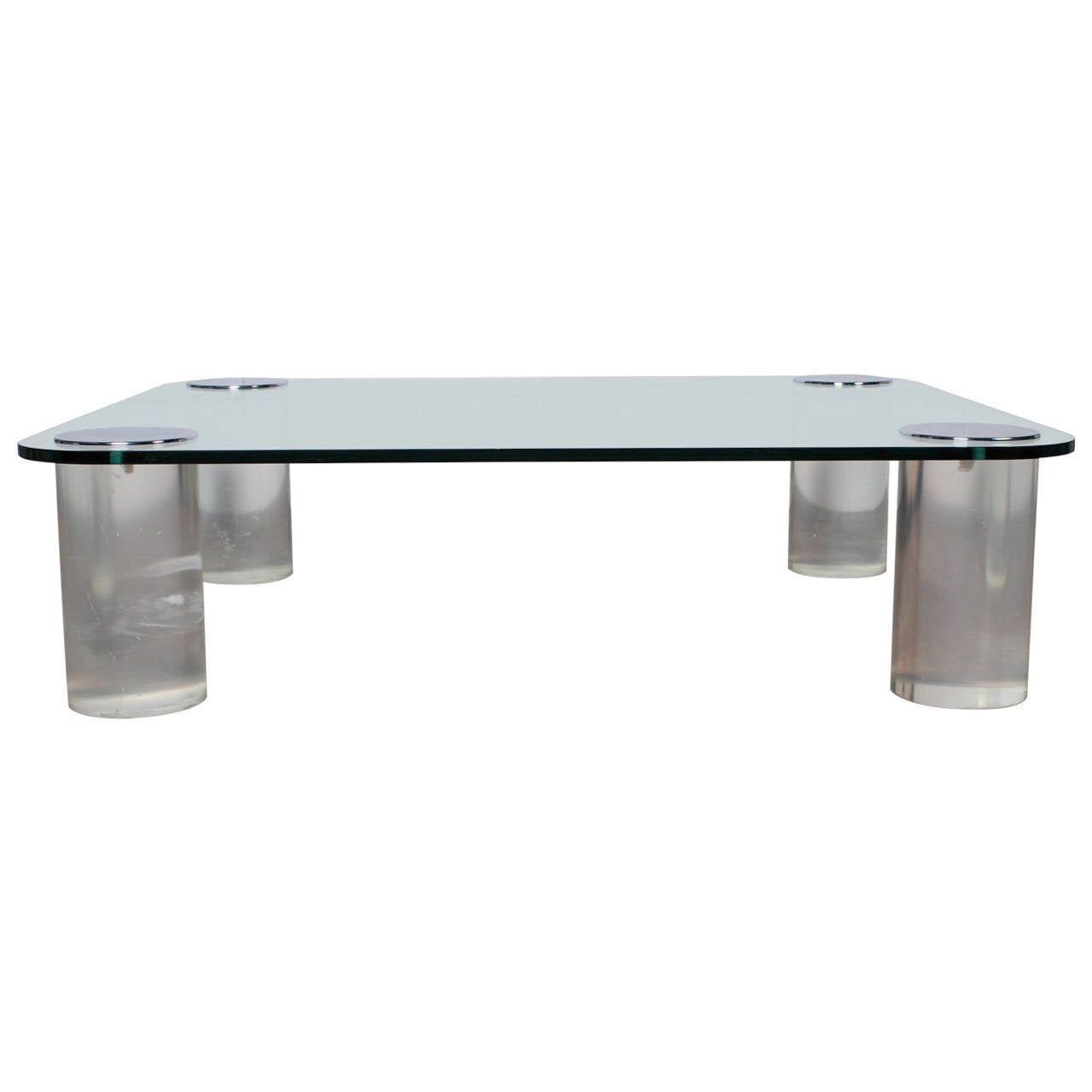 Large lucite and glass coffee table at 1stdibs Large glass coffee table
