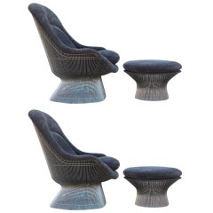 Pair of Throne Chairs and Ottomans by Warren Platner