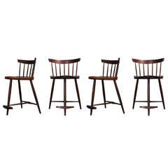 """Set of Four """"Mira"""" Barstools by George Nakashima"""