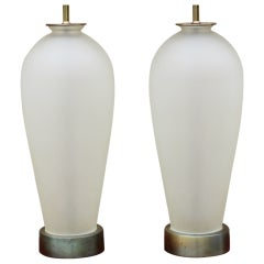 Pair of Frosted Glass Table Lamps