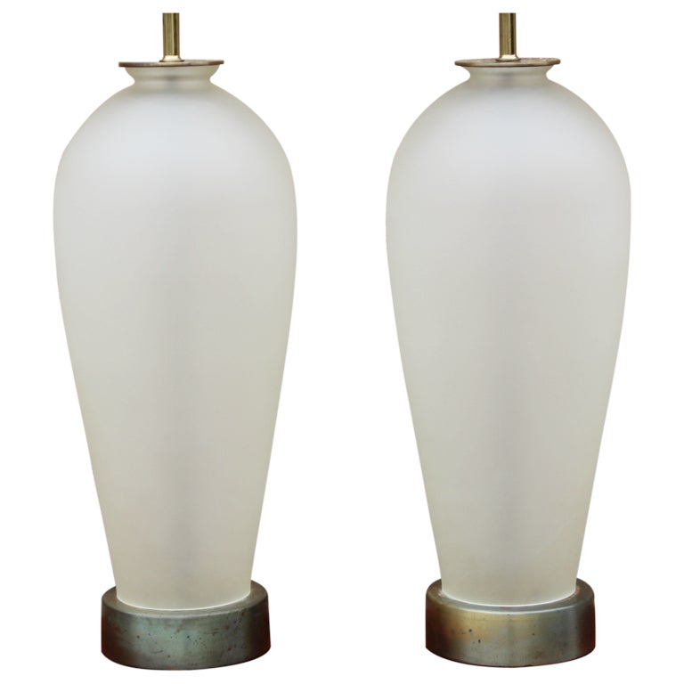 pair of frosted glass table lamps at 1stdibs. Black Bedroom Furniture Sets. Home Design Ideas
