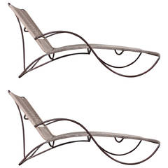 "Pair of Bronze ""S"" Chaise Longue Chairs by Walter Lamb"