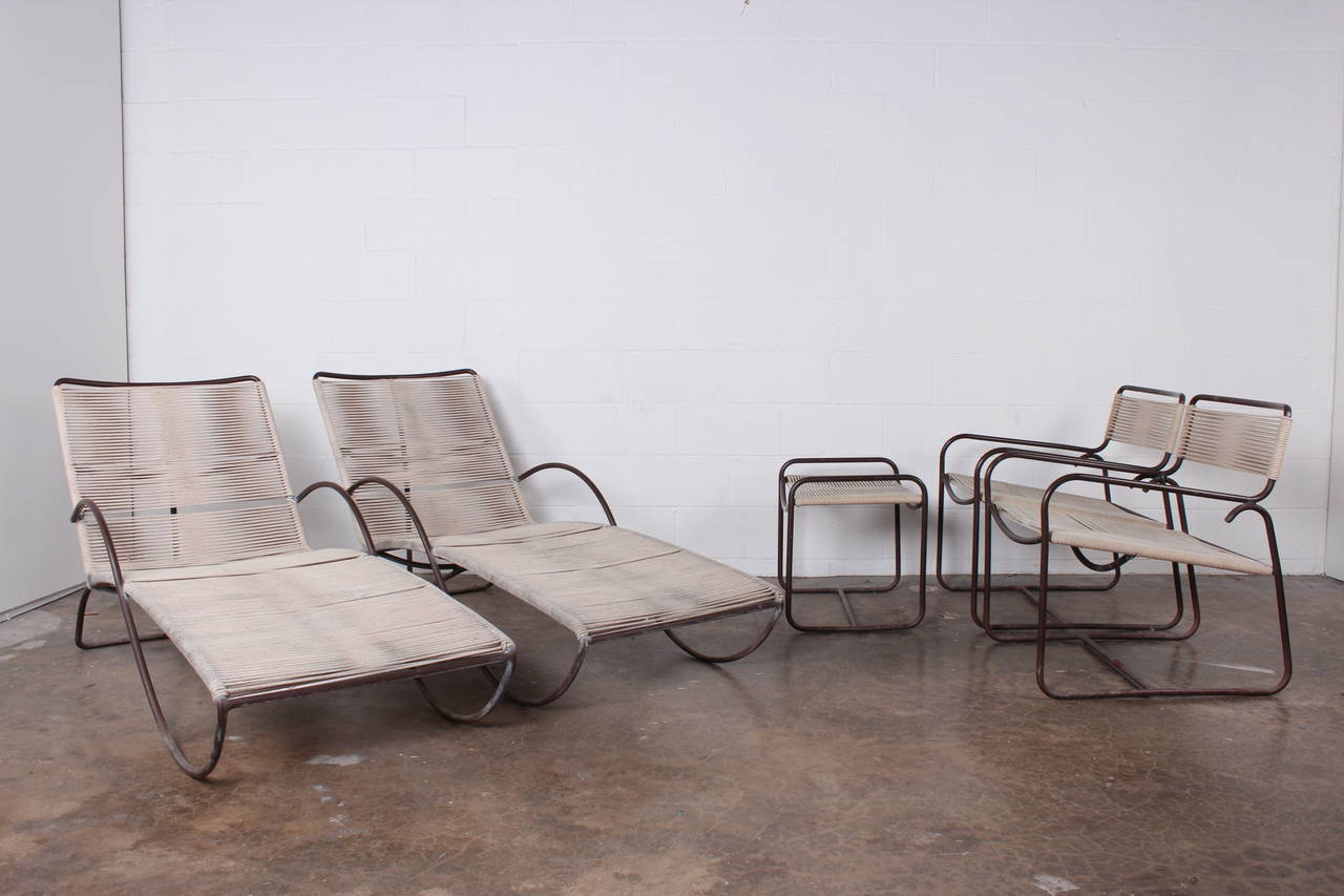 Pair of bronze s chaise longue chairs by walter lamb at for Chaise longue garden furniture