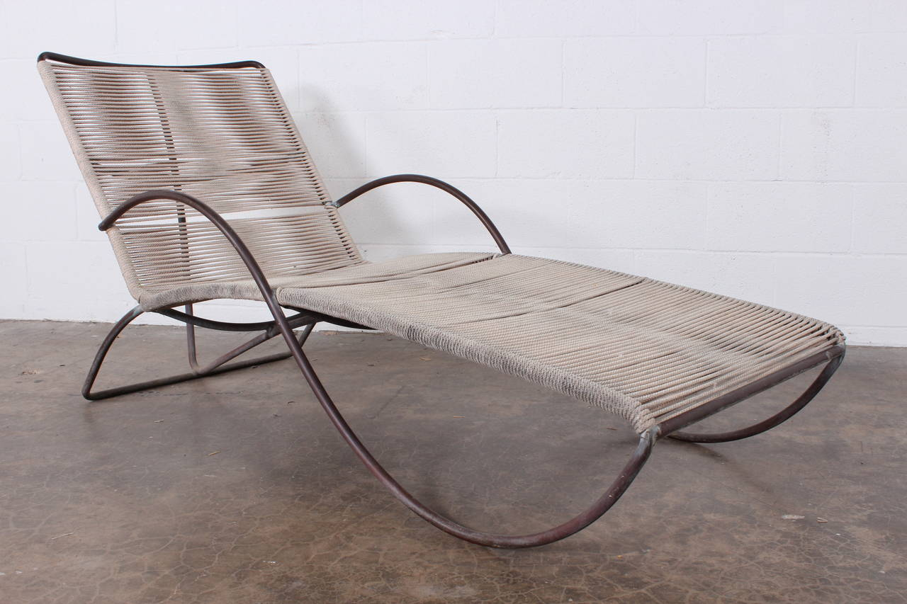 Pair of bronze s chaise longue chairs by walter lamb at for Chaise longue pour bronzer