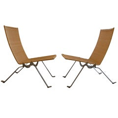 Pair of PK 22 Chairs by Paul Kjaerholm for Fritz Hansen