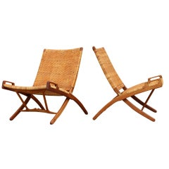 Pair of Folding Chairs by Hans J. Wegner for Johannes Hansen