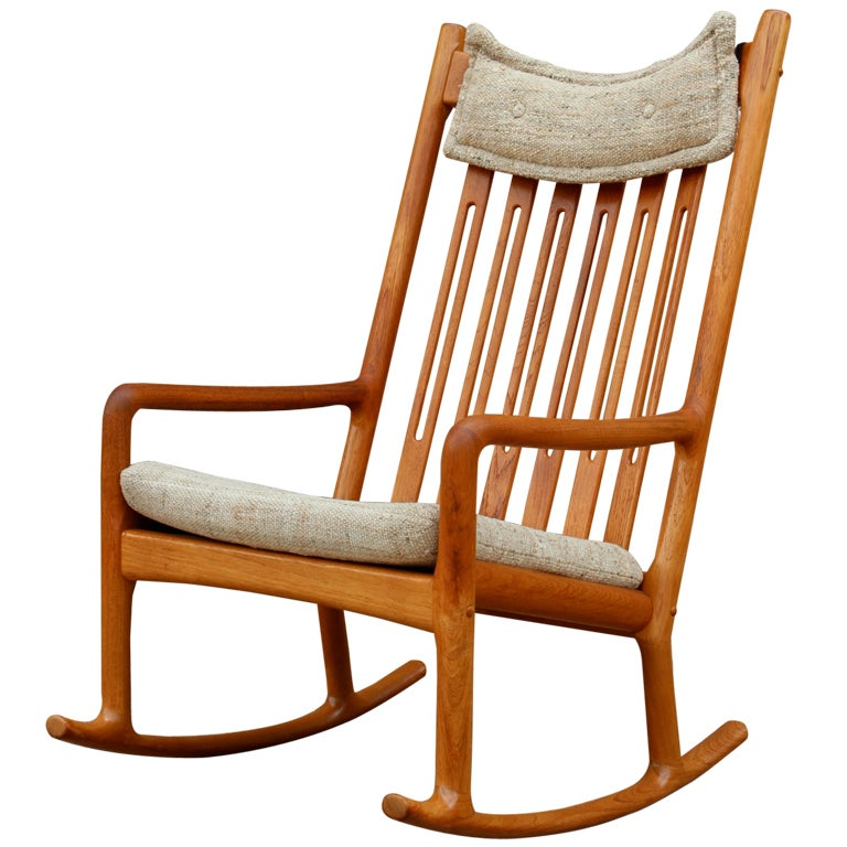 Teak Rocking Chair Designed By Hans Wegner At 1stdibs