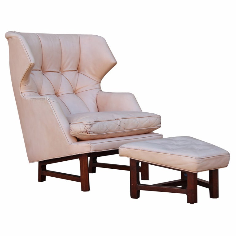 Dunbar Wingback Chair and Ottoman in Original Leather at