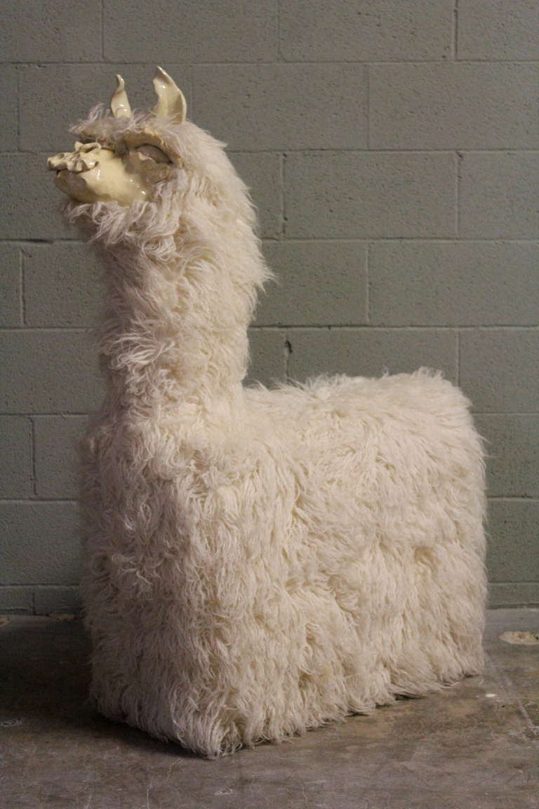 Llama Chair With Ceramic Face And Flokati Covered Body At