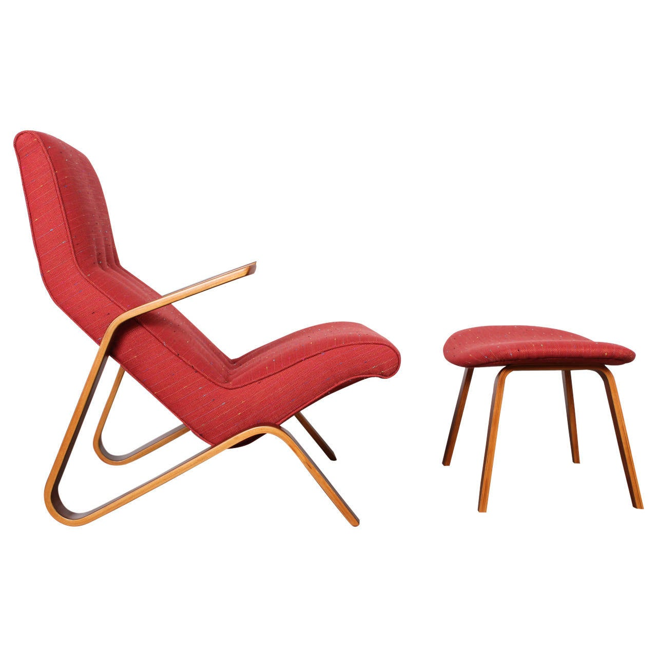 Grasshopper Chair and Ottoman by Eero Saarinen for Knoll