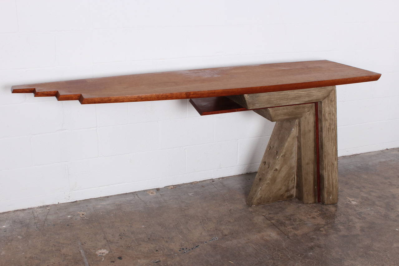 Architectural concrete and wood console table at 1stdibs Concrete and wood furniture