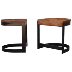 Pair of Bronze Stools by Warren Bacon