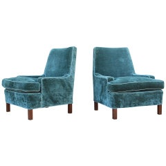 Pair of Low Arm Lounge Chairs by Edward Wormley for Dunbar