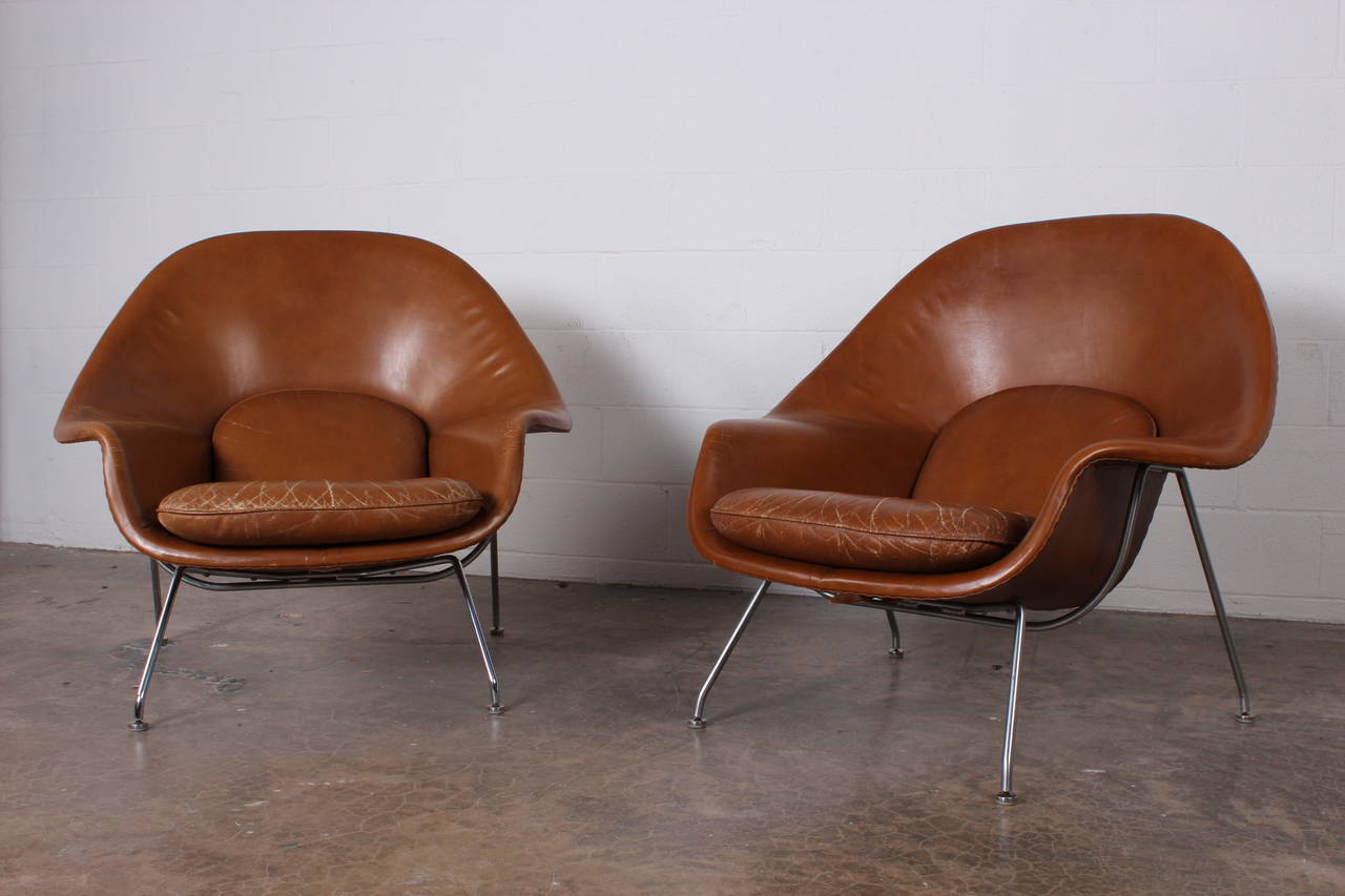 A rare pair of Eero Saarinen designed womb chairs for Knoll in original leather. & Pair of Early Womb Chairs by Eero Saarinen in Original Leather at ...