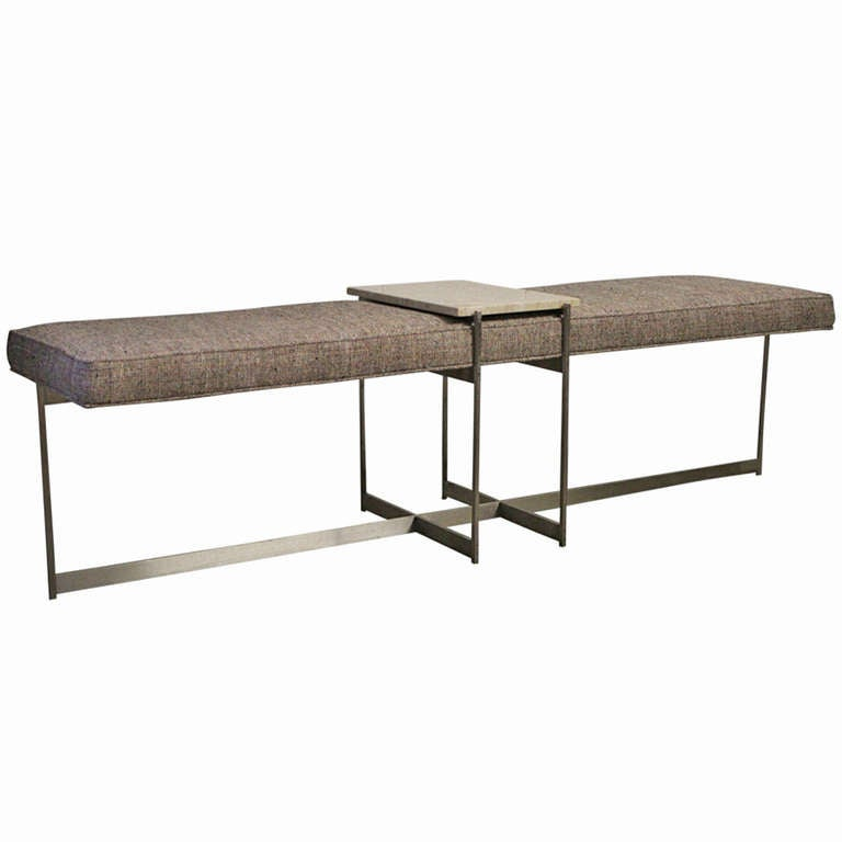 Architectural Bench With Stainless Steel Base Pair Available At 1stdibs