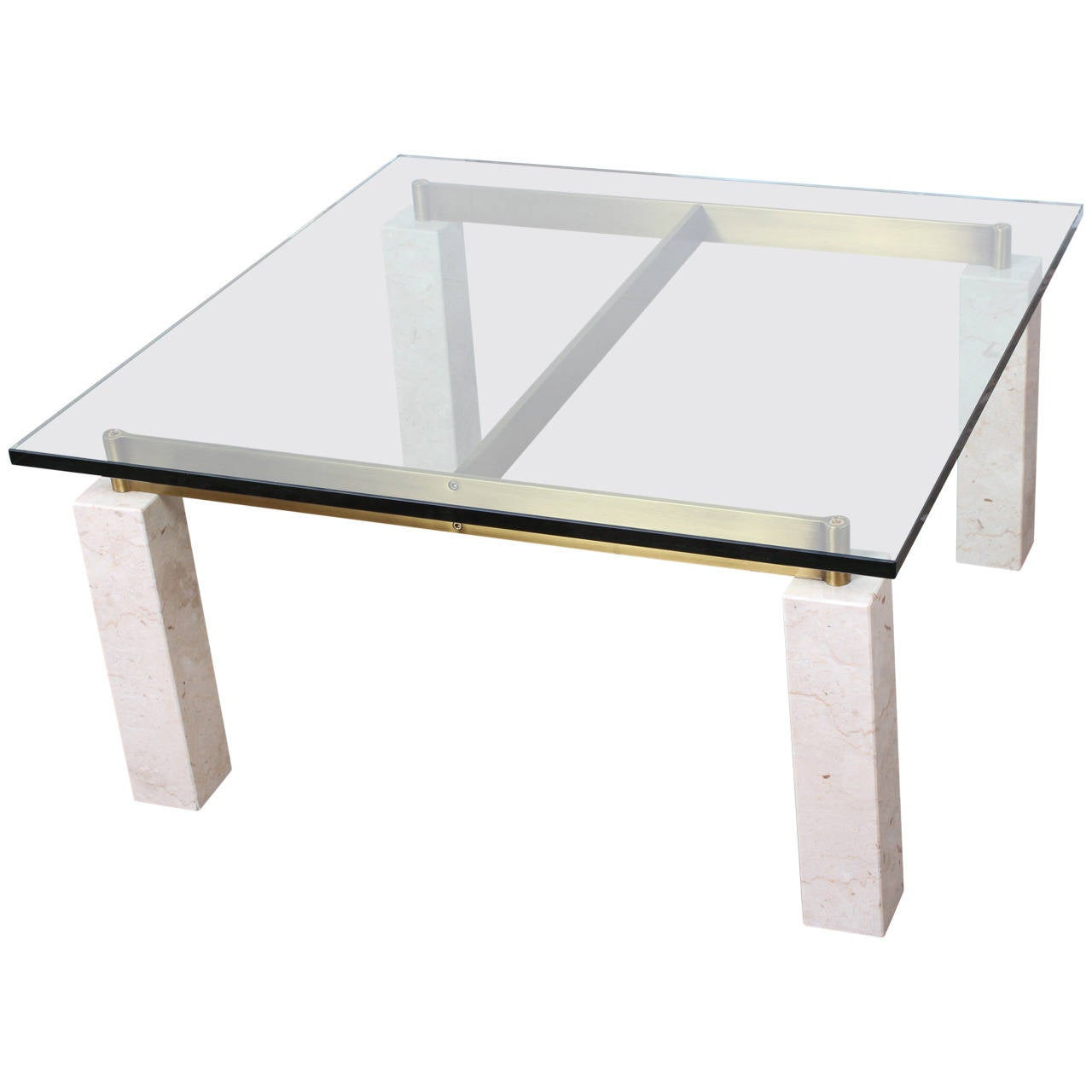 Travertine And Brass Coffee Table For Sale At 1stdibs