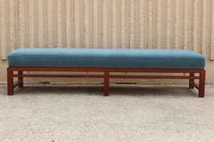 Mahogany and Mohair Bench by Edward Wormley for Dunbar