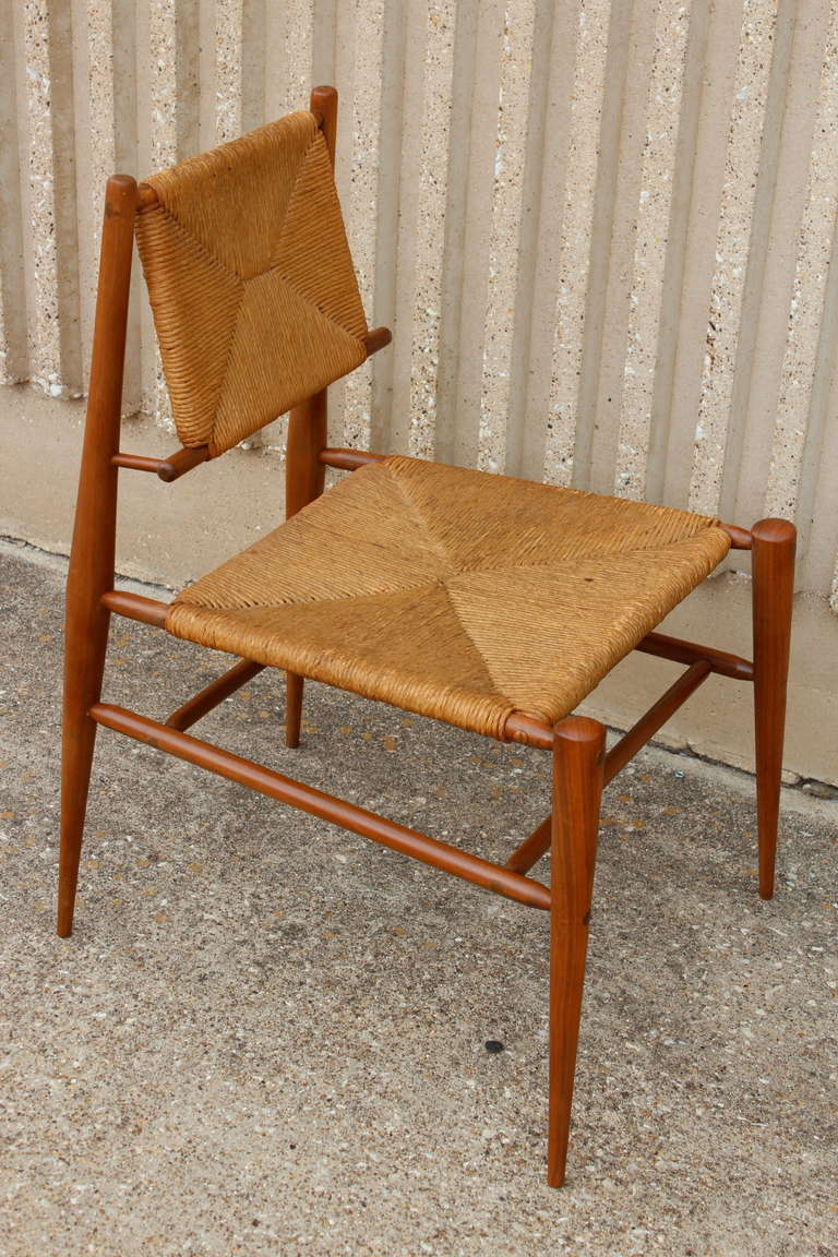 Sculptural Woven Rush Side Chair In Good Condition For Sale In Dallas, TX