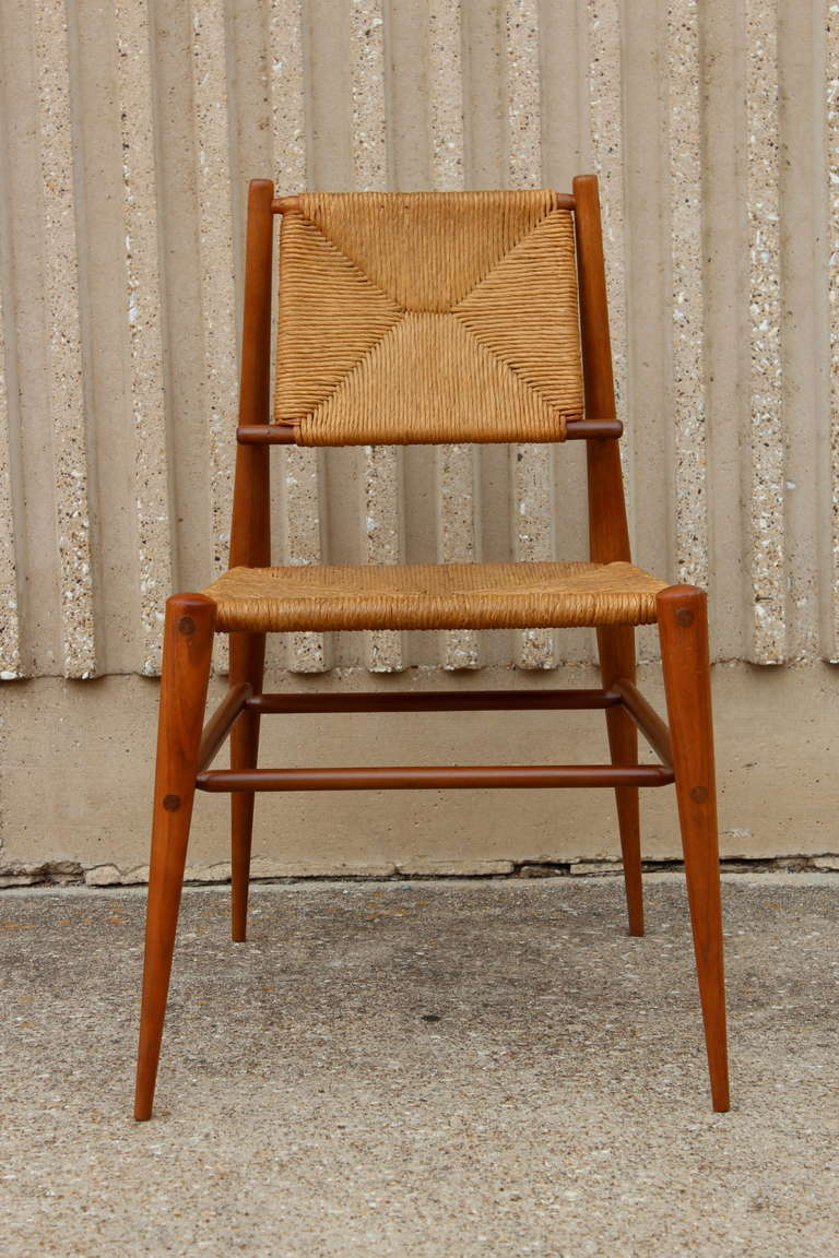 Mid-20th Century Sculptural Woven Rush Side Chair For Sale