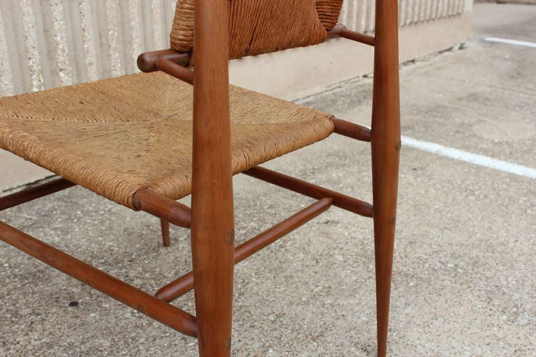 Sculptural Woven Rush Side Chair For Sale 4
