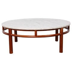 Walnut and Marble Coffee Table by T.H. Robsjohn-Gibbings