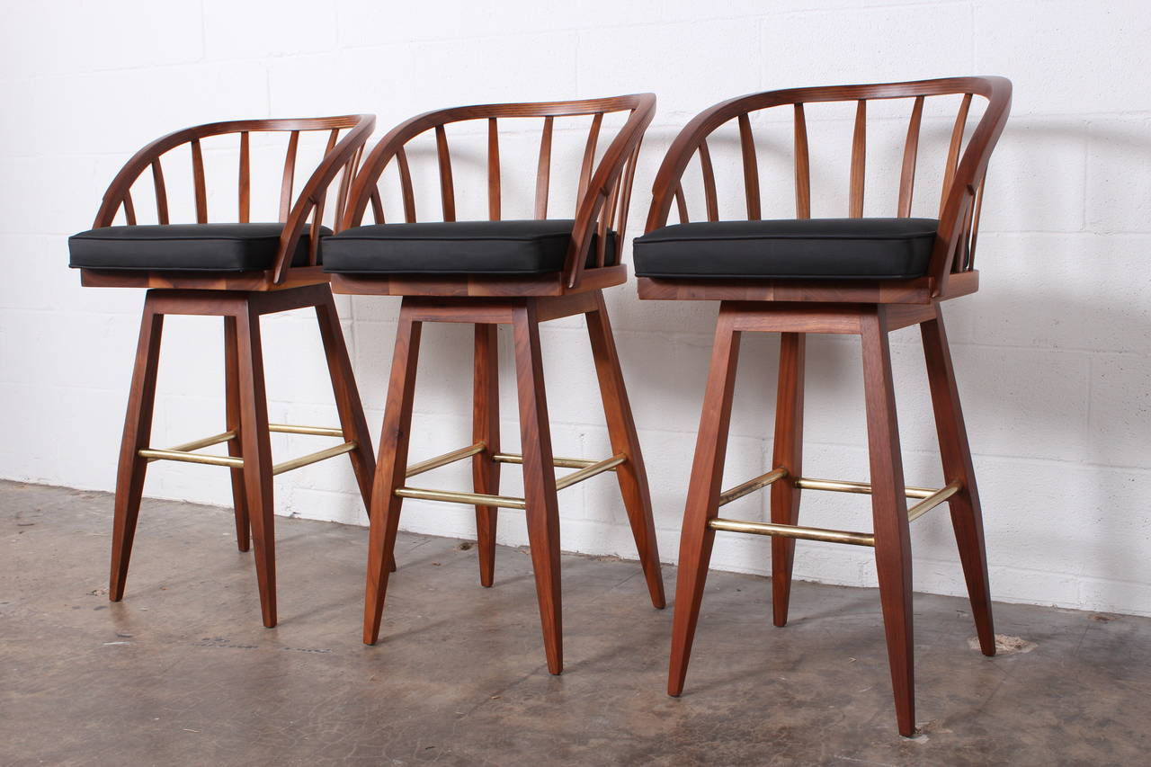 Set Of Three Swiveling Barstools By Edward Wormley For