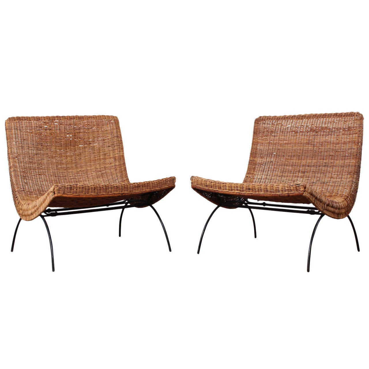 Attractive Pair Of Rattan Scoop Chairs Attributed To Milo Baughman 1