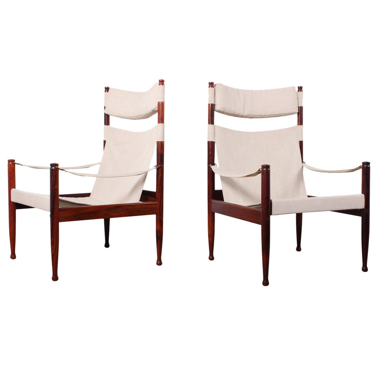 High Back Rosewood Safari Chairs by Niels Eilersen For Sale