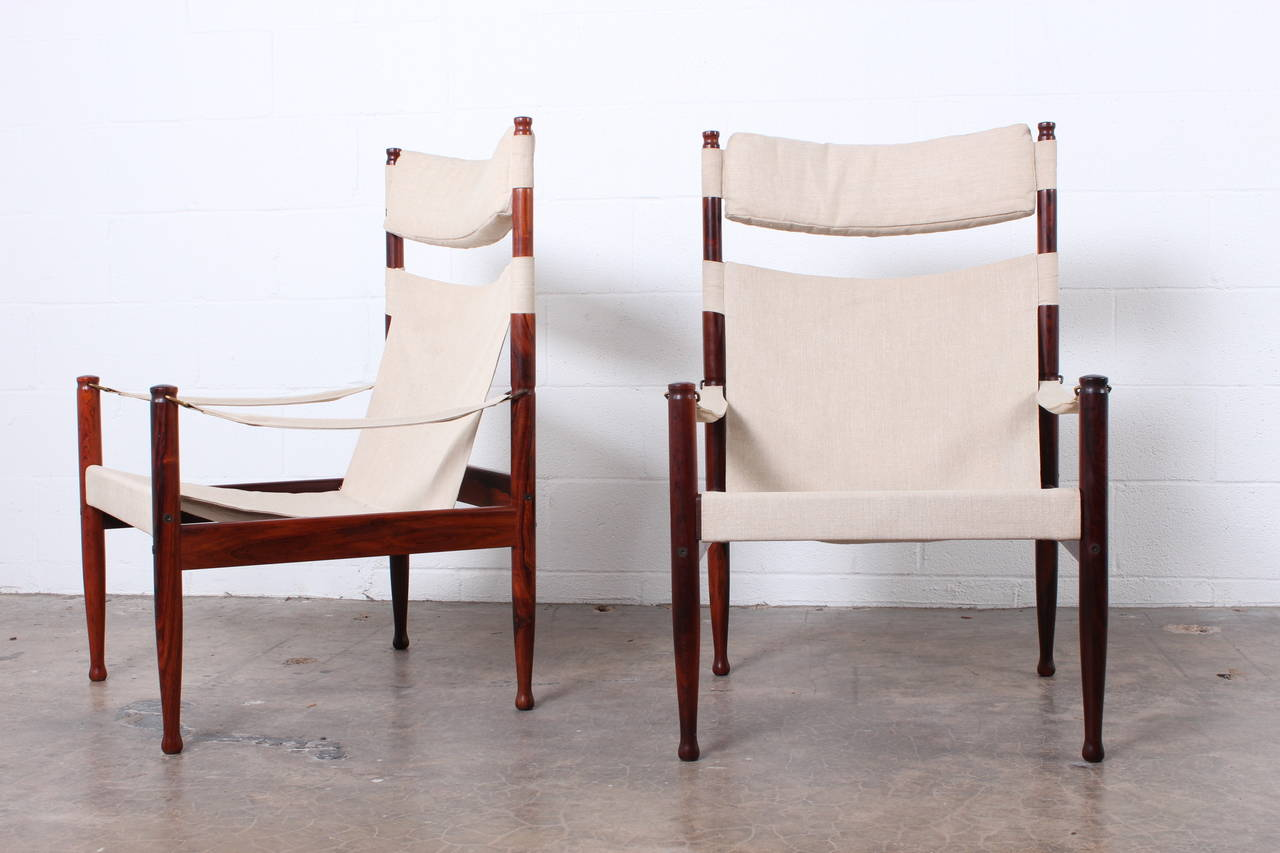High Back Rosewood Safari Chairs by Niels Eilersen For Sale 1