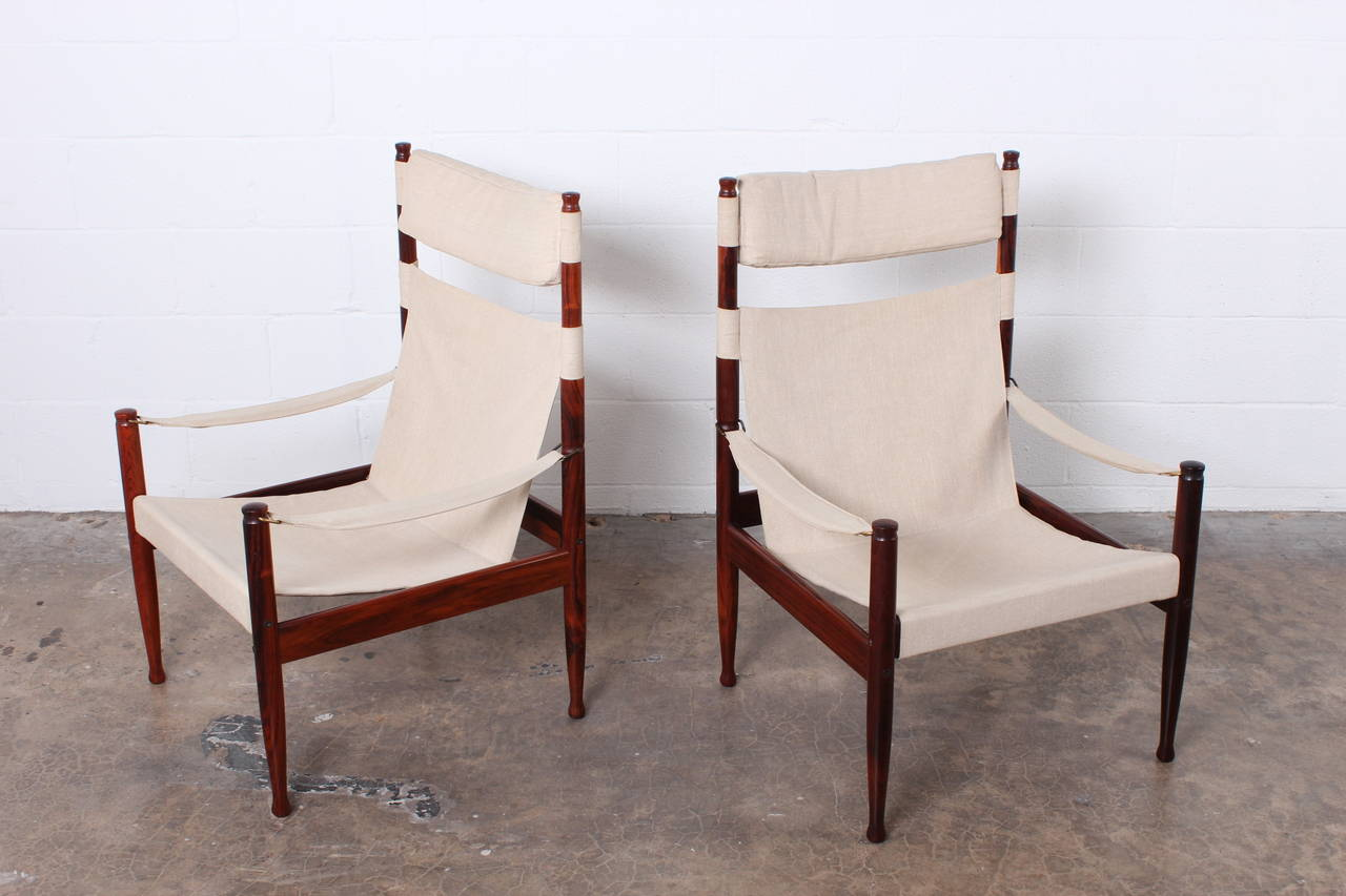 Mid-20th Century High Back Rosewood Safari Chairs by Niels Eilersen For Sale
