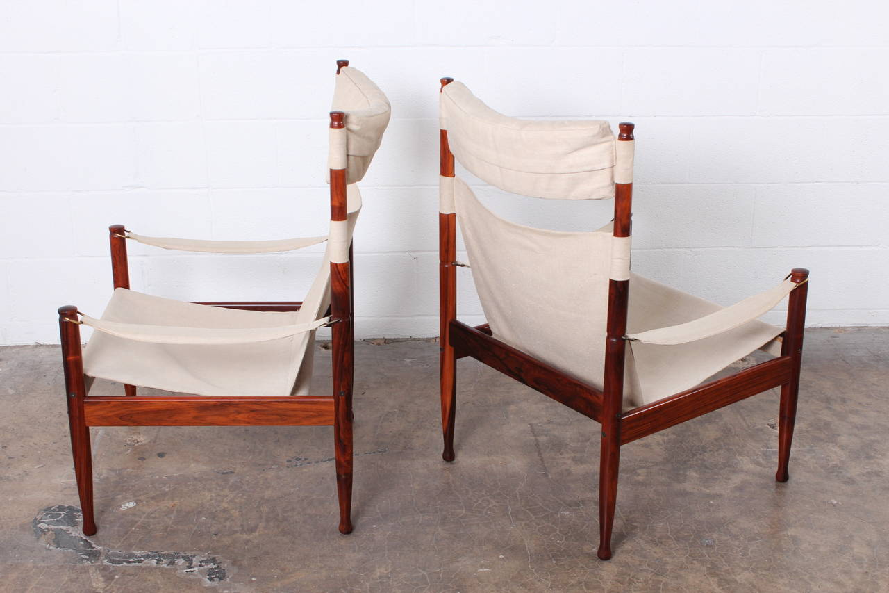 High Back Rosewood Safari Chairs by Niels Eilersen For Sale 2