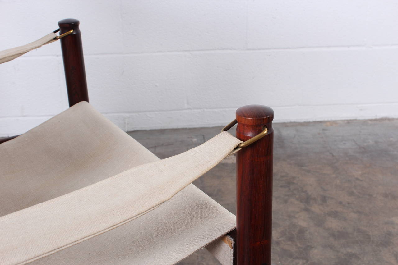 High Back Rosewood Safari Chairs by Niels Eilersen In Excellent Condition For Sale In Dallas, TX