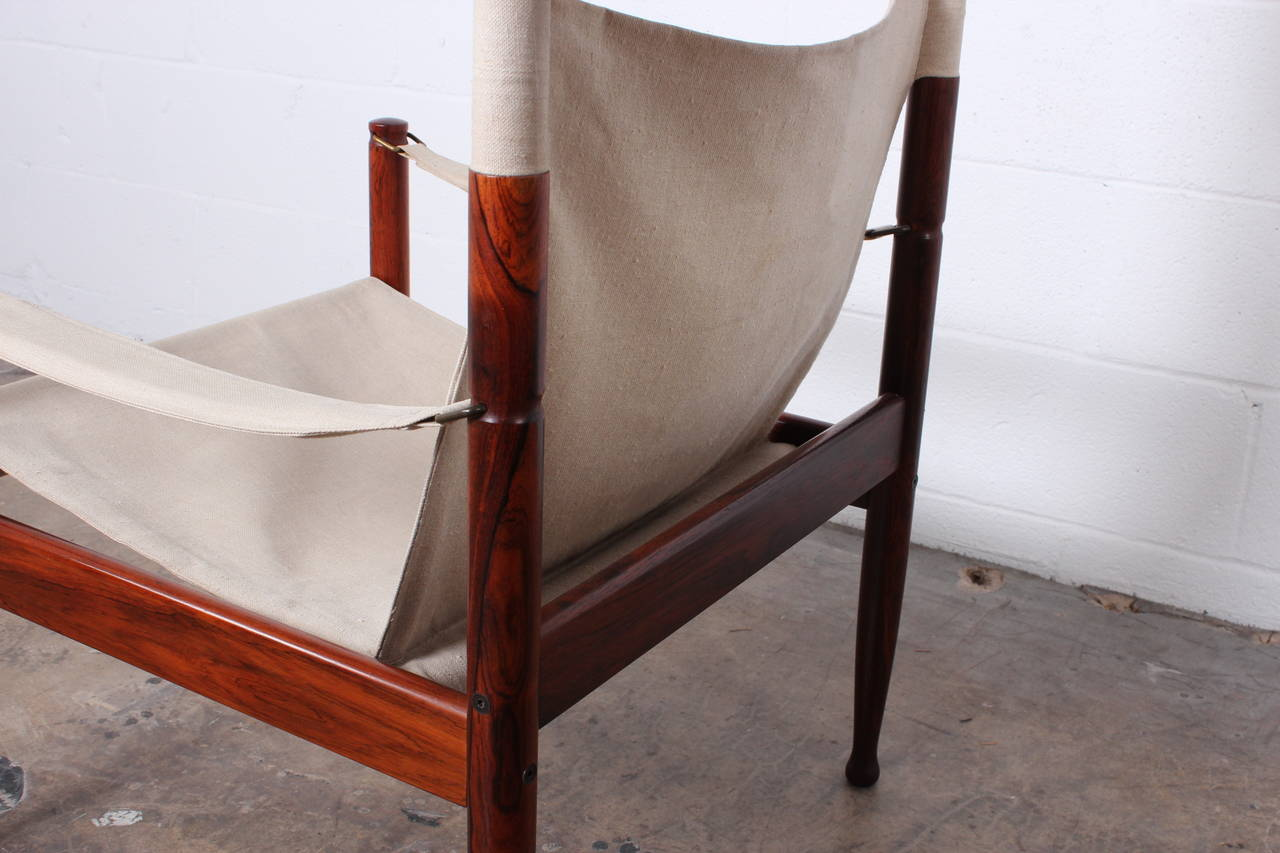 High Back Rosewood Safari Chairs by Niels Eilersen For Sale 5