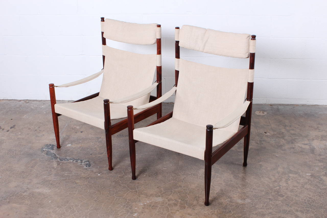 High Back Rosewood Safari Chairs by Niels Eilersen For Sale 4