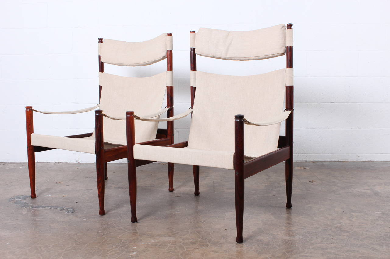 High Back Rosewood Safari Chairs by Niels Eilersen For Sale 6