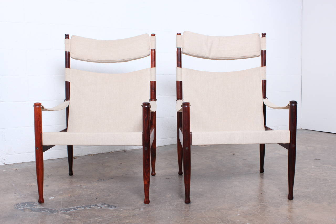 High Back Rosewood Safari Chairs by Niels Eilersen For Sale 3