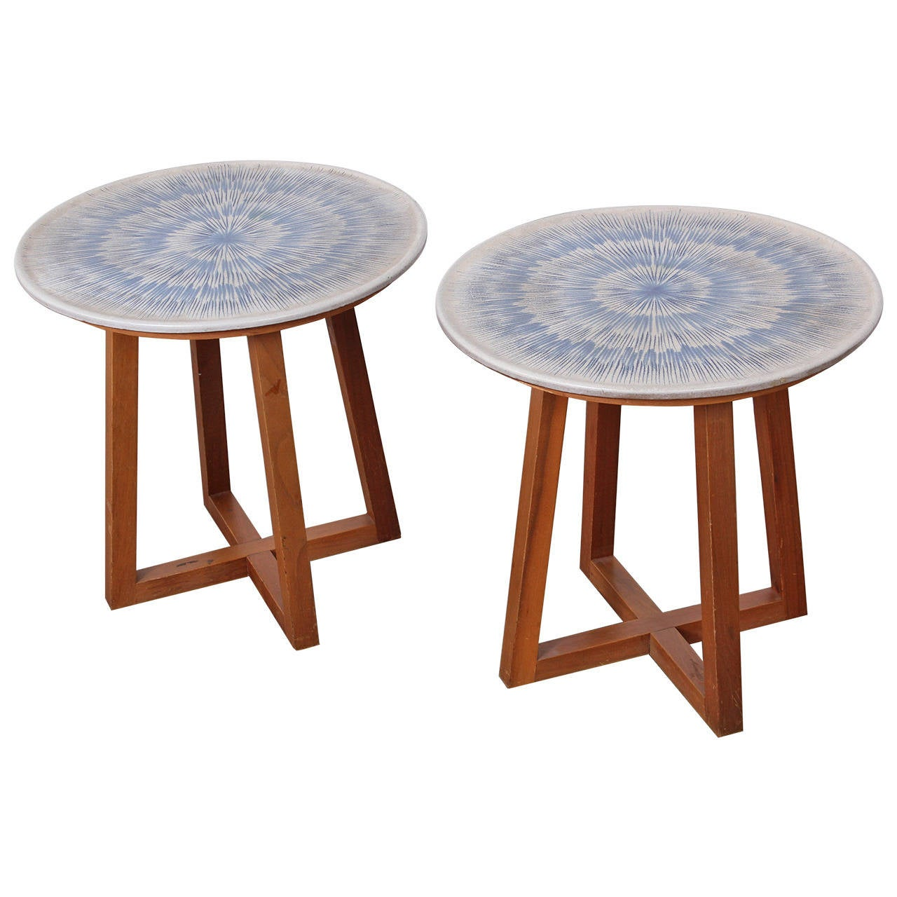 Awesome Rare Pair Of Ceramic Tables By Lee Rosen For Design Technics 1
