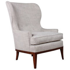 Modernist Wingback Chair with Walnut Base