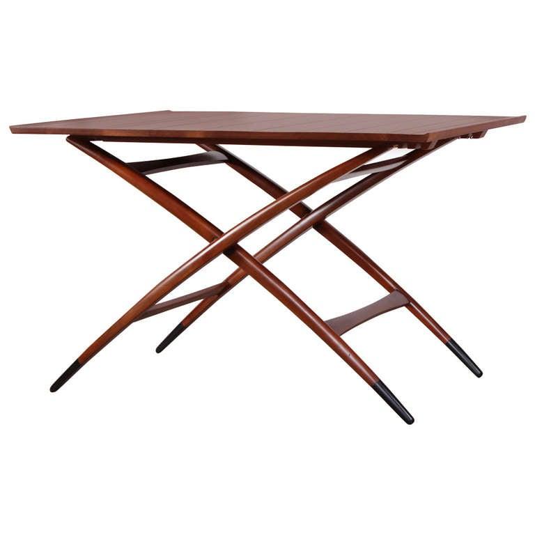 Rare Adjustable Folding Table by Edward Wormley for Dunbar