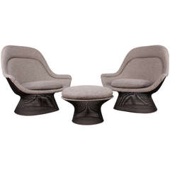 Pair of Bronze Throne Chairs and Ottoman by Warren Platner for Knoll