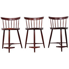 Set of Three Mira Barstools by George Nakashima